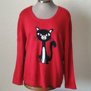 PURRRFECTLY COZY 🐾 RED KITTY SWEATER 🐾 4X NWT